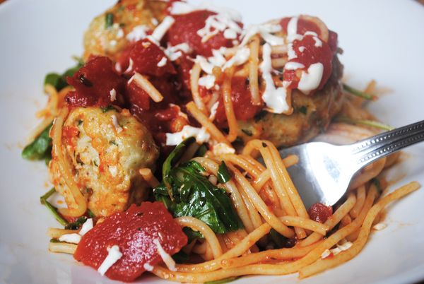 ... Spicy Tomatoes and Arugula with Chicken Meatballs - Spork or Foon