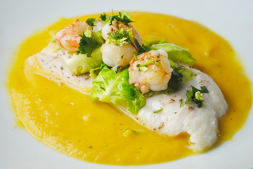 Steamed sole with butternut squash sauce and rock shrimp for Healthy sauces for fish